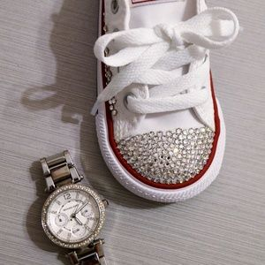 Bling Converse Size 6 and Toddler Sized MK Watch